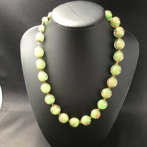 Vintage green art glass bead necklace